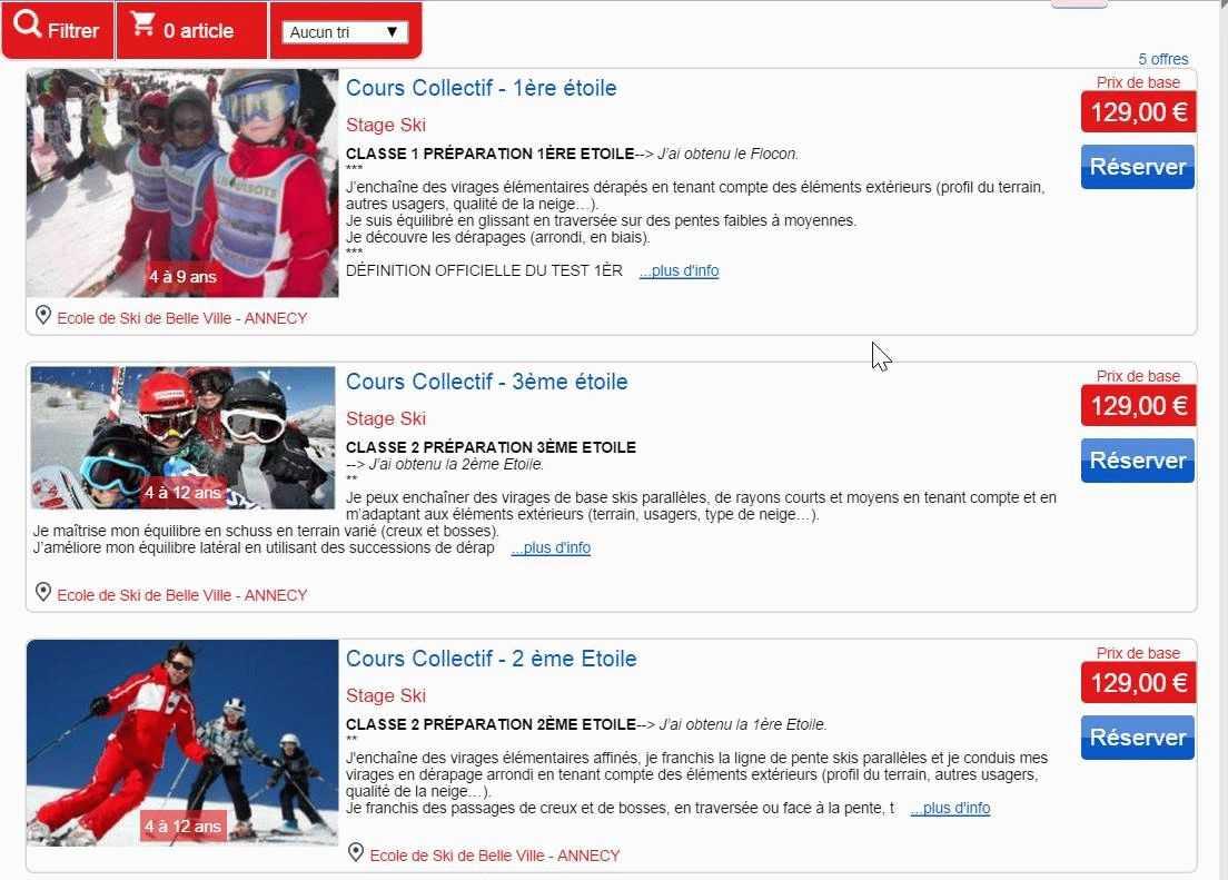 exemple de boutique en ligne ecole de ski belle ville